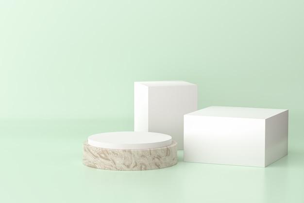 Betonowy i biały stojak lub cokół w kształcie walca i sześcianu na produkty. renderowanie 3d