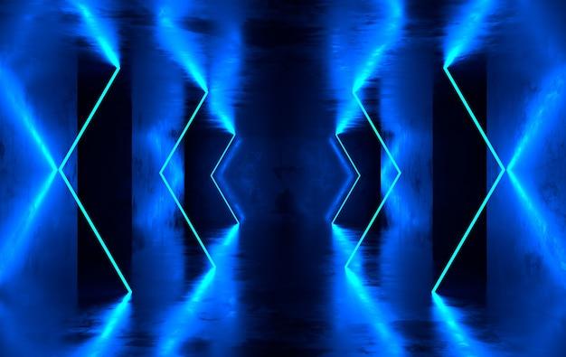 Betonowy pokój ze świecącymi neonami