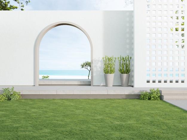 Betonowy taras podłogowy i biała ściana bloku wentylacyjnego w luksusowym hotelu lub domu na plaży
