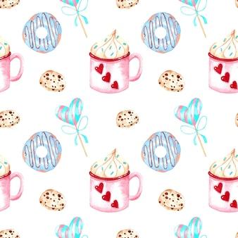 Bez szwu akwarela wzór z ciasta, pączki i serca na białym tle, akwarela ilustracja na walentynki.
