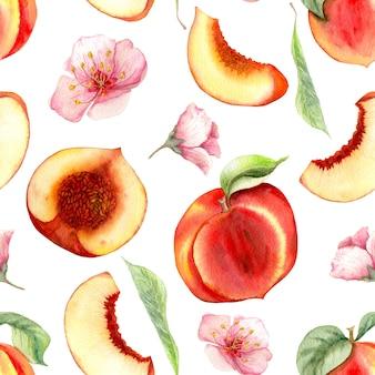 Bez szwu akwarela wzór z ręcznie rysowane brzoskwinie. różne rodzaje elementów.