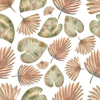Bez szwu wzorów z tropikalnych liści w stylu boho na na białym tle. akwarela ilustracja.