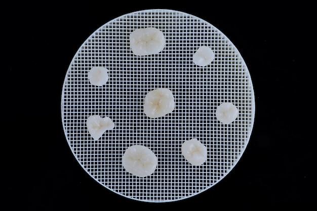 Bezmetalowe korony ceramiczne różnych zębów leżące na ceramicznym stojaku spustowym