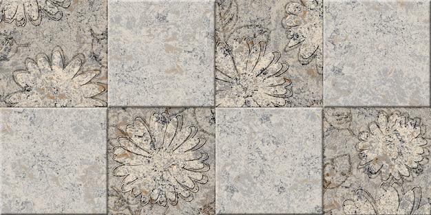 Beżowe kamienne płytki dekoracyjne z fakturą kamienia naturalnego i kwiatowym wzorem. element do projektowania wnętrz. tekstura tła