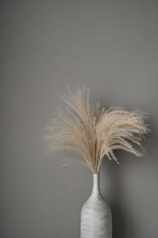 Beżowe trzciny, trawa pampasowa na szarej ścianie. piękna koncepcja wnętrza w neutralnych kolorach