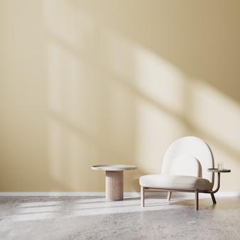 Beżowy fotel i stolik kawowy z beżową ścianą i betonową podłogą, makieta wnętrza salonu w stylu skandynawskim, nowoczesne tło wnętrza salonu, renderowanie 3d