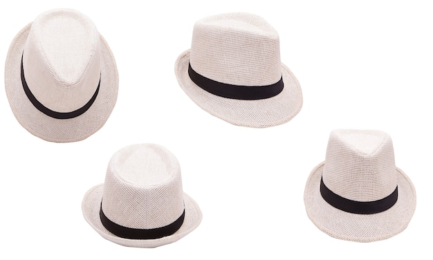 Beżowy kapelusz na białym tle na białym tle. letni modny dodatek
