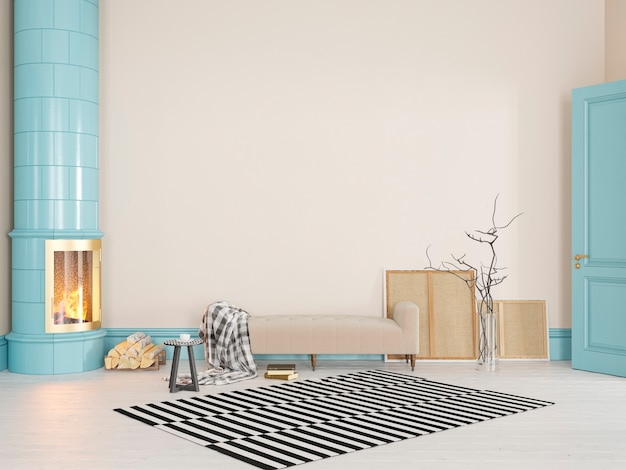Beżowy, żółty, niebieski skandynawski, klasyczne wnętrze z kanapą, piecem, kominkiem, dywan. 3d render ilustracji makiety.