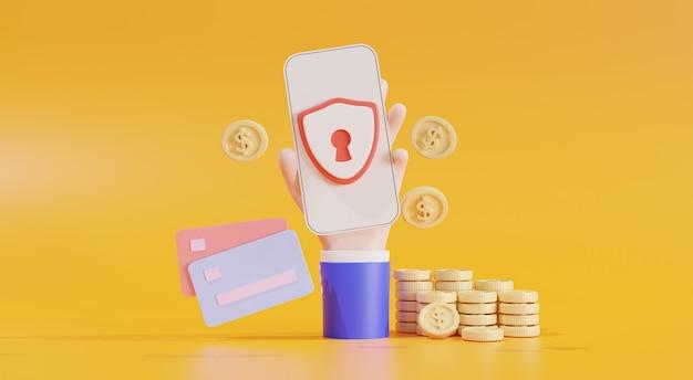 Bezpieczeństwo finansowe, ochrona płatności online, transakcja online, bankowość online i zakupy online, koncepcja oszczędzania pieniędzy. bank telefonu komórkowego. portfel elektroniczny, monety, karta kredytowa, ilustracja 3d