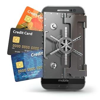 Bezpieczeństwo koncepcji bankowości mobilnej. bezpieczna płatność online. smartfon jako skarbiec i karty kredytowe. 3d