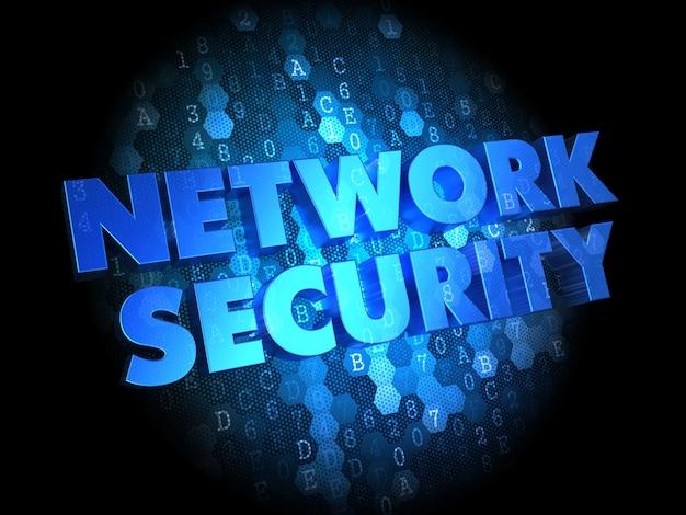 Bezpieczeństwo sieci - tekst w kolorze niebieskim na ciemnym tle cyfrowym.