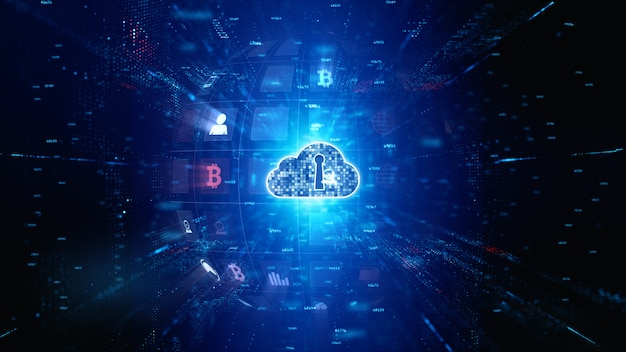 Bezpieczna cyfrowa sieć danych. digital cloud computing cyber security. koncepcja technologii.
