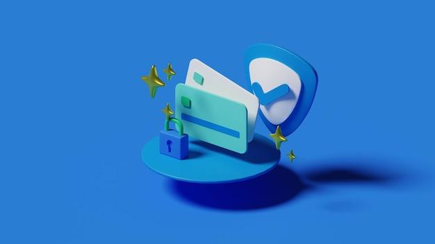 Bezpieczna płatność kartą kredytową i debetową ilustracja renderowanie 3d