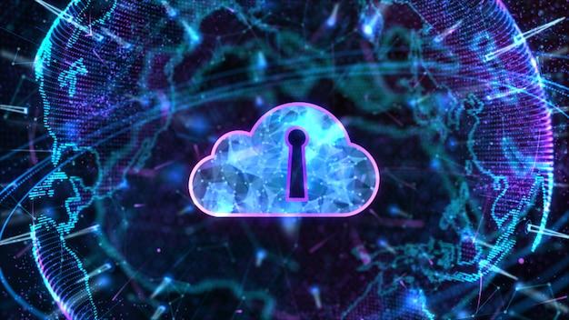 Bezpieczna sieć danych cyfrowe przetwarzanie w chmurze cyberbezpieczeństwo concep