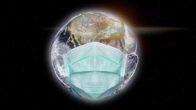 Bezpieczna ziemia i bezpieczny człowiek przed rozprzestrzenianiem się wirusa covid19, ten element uzupełniony przez nasa