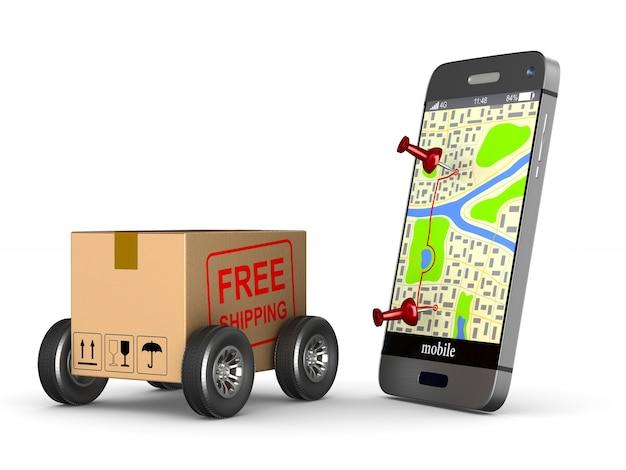 Bezpłatna wysyłka skrzyni ładunkowej z kołem i telefonem na białym tle. izolowana ilustracja 3d