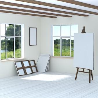 Bezpłatne warsztaty artystyczne sztalugi puste puste ramki płótna. jasny pokój z dwoma oknami