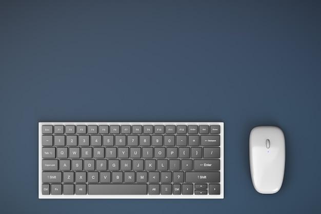 Bezprzewodowa klawiatura i mysz komputerowa na stole. widok z góry. miejsce pracy