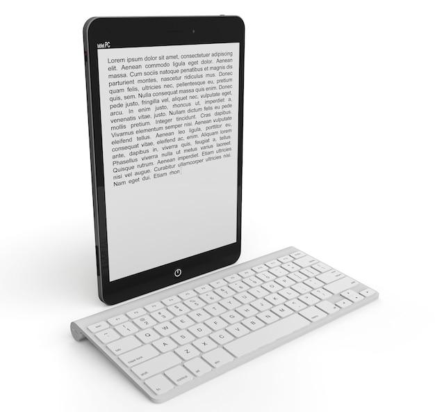 Bezprzewodowa klawiatura z komputerem typu tablet na białym tle