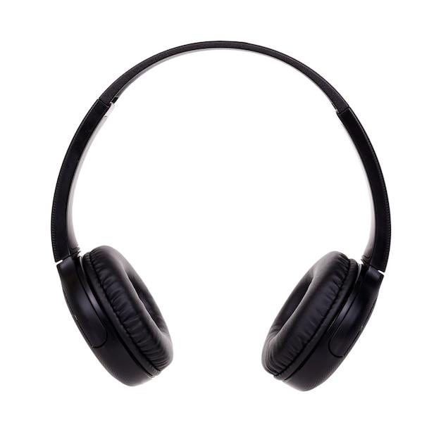 Bezprzewodowe czarne słuchawki. na białym tle na białej przestrzeni.
