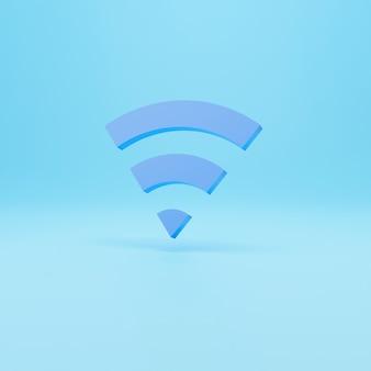 Bezprzewodowy symbol 3d wifi. streszczenie wifi ikona na niebieskim tle. renderowania 3d.