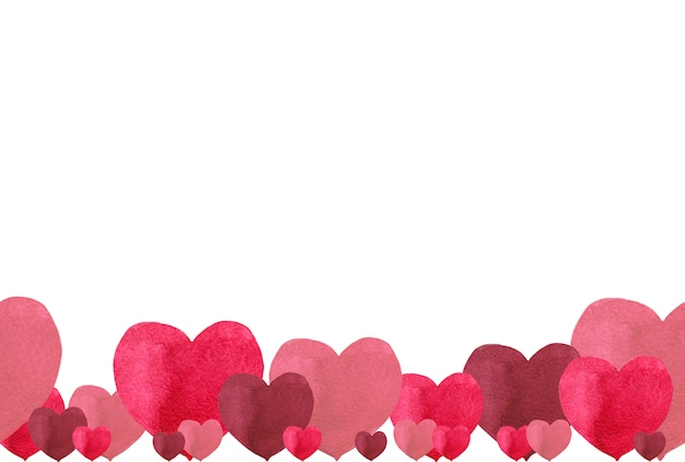 Bezszwowa dolna ramka na walentynki serc prostych odcieni czerwonych. akwarela ilustracja