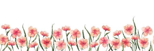 Bezszwowa granica akwarela z pomarańczowymi abstrakcyjnymi irysowymi kwiatami i liśćmi na białym tle, ilustracja kwiat lato na pocztówki, dekoracje ślubne, opakowania