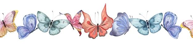 Bezszwowa granica akwareli z kolorowymi trzepoczącymi abstrakcyjnymi motylami na białym tle