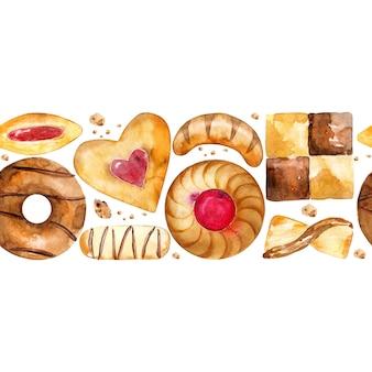 Bezszwowa granica z ciastkami i ciasteczkami.