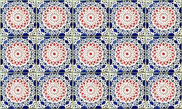 Bezszwowa płytka azulejo z portugalii lub hiszpanii. wysoka rozdzielczość.