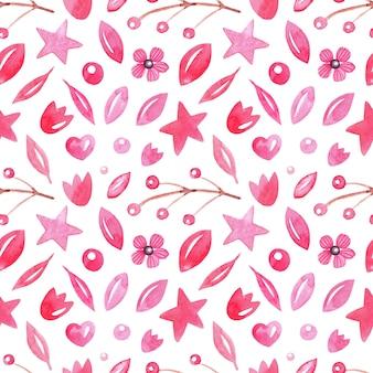 Bezszwowe abstrakcyjny wzór akwarela z liści, jagód, serc, gwiazdek
