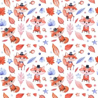 Bezszwowe akwarela wzór dla dzieci z lisem dla chłopców, małych panów i biodrówki na białym tle z uroczymi liśćmi.