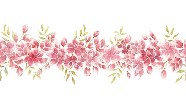 Bezszwowe granica z akwarela różowe kwiaty pąki i liście pojedyncze elementy