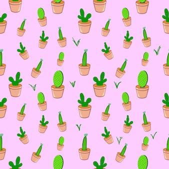 Bezszwowe kaktusy w doniczce plat brązowy kolor wzór tła ilustracja grafika