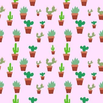 Bezszwowe kaktusy w plat pot brązowy kolor wzór tła