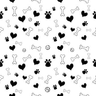 Bezszwowe ładny pies zabawka i zwierzę domowe zabawki serca wzór tła. ilustracja tapety dla zwierząt domowych i wzór tkaniny