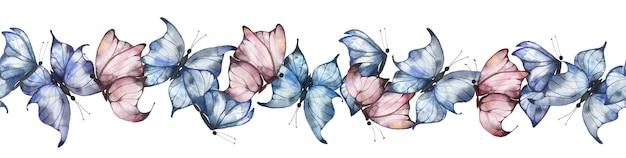 Bezszwowe obramowanie z akwarelowymi motylami w kolorze niebieskim i różowym na białym tle, lato jasne motyle, ilustracja lato na pocztówki, plakaty, opakowania