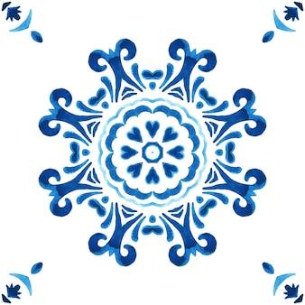 Bezszwowe ozdobne tekstury akwarela. wzór mandali z niebieskich i białych ozdób. styl projektowania płytek azulejo. płytki arabeski