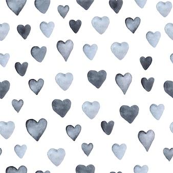 Bezszwowe ręcznie rysowane wzór z sercami