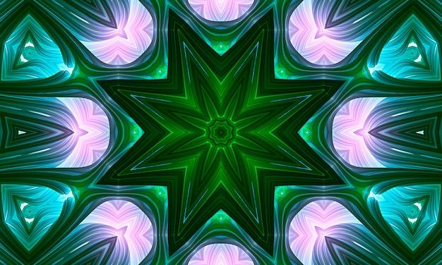 Bezszwowe różowy zielony kwiat mozaiki kalejdoskopie wzór tła.