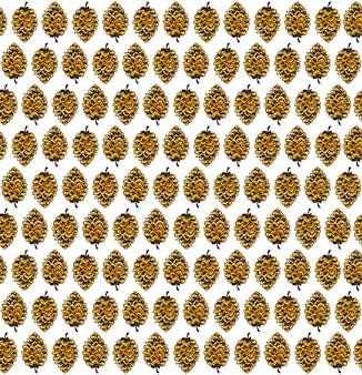 Bezszwowe tło wzór natura z akwarela szyszki