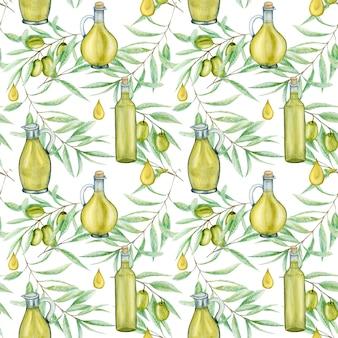 Bezszwowe wzór akwarela zielone drzewo oliwne liście gałęzi i szklana butelka oleju