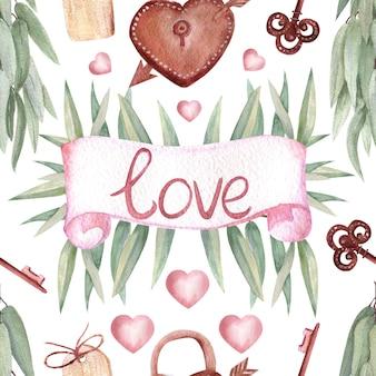 Bezszwowe wzory z tropikalnymi liśćmi, napis love, zamek i klucz w stylu boho na na białym tle. ilustracja akwarela