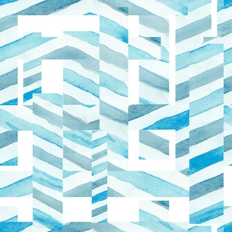 Bezszwowy akwarela abstrakta wzór w nieba błękita kolorze na białym tle