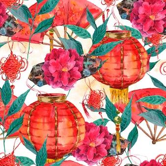 Bezszwowy akwarela chiński nowego roku tło