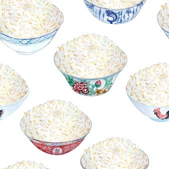 Bezszwowy akwarela wzór z barwionymi pucharami ryż na nim.