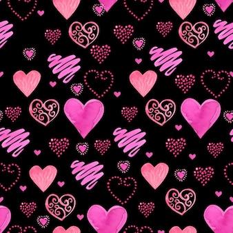Bezszwowy akwarela wzór z czerwonymi akwareli sercami.