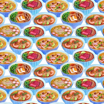 Bezszwowy akwarela wzór z wietnamską zupą pho.
