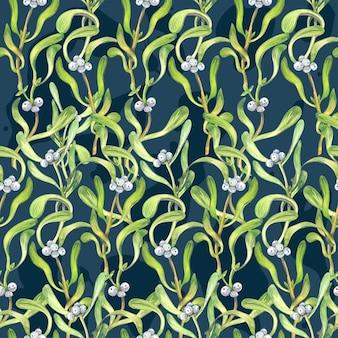 Bezszwowy boże narodzenie wzór z jemiołą rozgałęzia się. malarstwo akwarelowe