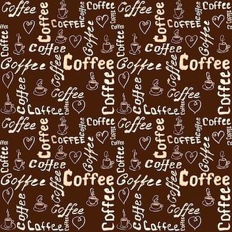 Bezszwowy brązowy wzór kawy z napisem, sercami i filiżankami kawy